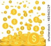 gold coins falling down vector... | Shutterstock .eps vector #483463129