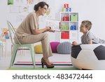 shot of a psychologist talking... | Shutterstock . vector #483472444