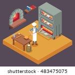 cook baker cooking bread... | Shutterstock .eps vector #483475075