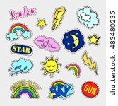fashion patch badges. sky set.... | Shutterstock .eps vector #483480235