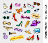 fashion patch badges. fashion... | Shutterstock .eps vector #483480265