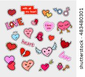 fashion patch badges. hearts... | Shutterstock .eps vector #483480301