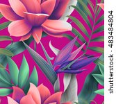 seamless tropical flower ... | Shutterstock . vector #483484804