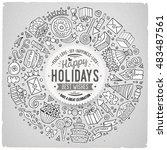 line art vector hand drawn set... | Shutterstock .eps vector #483487561