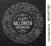 line art chalkboard vector hand ... | Shutterstock .eps vector #483487585