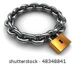 3d Illustration Of Locked Chain ...