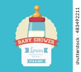baby bottle icon. baby shower... | Shutterstock .eps vector #483492211