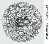 cartoon cute doodles hand drawn ... | Shutterstock .eps vector #483492655