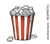 carton bucket full popcorn.... | Shutterstock .eps vector #483498751