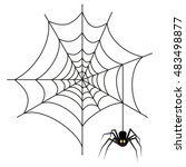 halloween spider on web | Shutterstock .eps vector #483498877