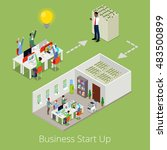 isometric business start up.... | Shutterstock .eps vector #483500899