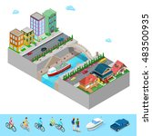 isometric city view with...