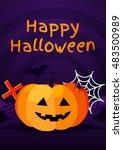 halloween background with... | Shutterstock .eps vector #483500989