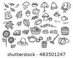 Set of cute autumn doodle
