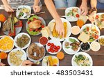 friends eating on picnic | Shutterstock . vector #483503431