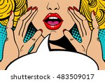 Stock vector sexy surprised blonde pop art woman with open mouth and rising hands screaming announcement vector 483509017