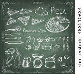 pizza on the green blackboard....   Shutterstock .eps vector #483510634