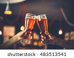 two friends toasting with... | Shutterstock . vector #483513541