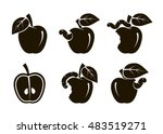 apple and worm. set of black... | Shutterstock .eps vector #483519271