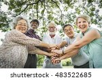 group of senior retirement... | Shutterstock . vector #483522685