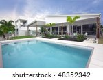 Pool area Australian modern townhouse - stock photo