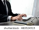business person using pc in...   Shutterstock . vector #483524515