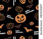 pattern happy halloween vector... | Shutterstock .eps vector #483525697