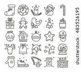 vector line icons with... | Shutterstock .eps vector #483526195