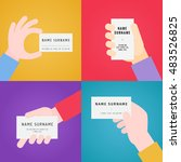 business card in hand... | Shutterstock .eps vector #483526825