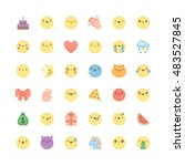 emoji outline icon vector set.... | Shutterstock .eps vector #483527845