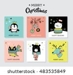 christmas hand drawn cute... | Shutterstock .eps vector #483535849