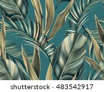 seamless tropical flower ... | Shutterstock . vector #483542917
