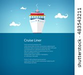 cruise ship at sea  a front... | Shutterstock .eps vector #483543211