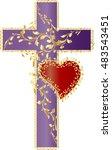 vintage romantic style purple... | Shutterstock .eps vector #483543451