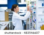 pharmacist checking medicine in ...   Shutterstock . vector #483546607