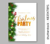 christmas party invitation with ... | Shutterstock .eps vector #483547891