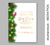 christmas party invitation with ... | Shutterstock .eps vector #483547924