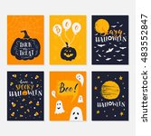 vector halloween greeting card  ... | Shutterstock .eps vector #483552847