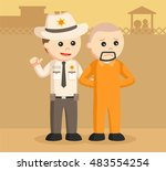 sheriff officer arrest escaped... | Shutterstock .eps vector #483554254