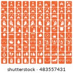 set of camping equipment icons. ... | Shutterstock .eps vector #483557431