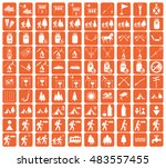 set of camping equipment icons. ... | Shutterstock .eps vector #483557455
