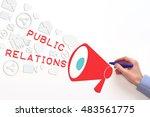 public relations  pr concept on ... | Shutterstock . vector #483561775