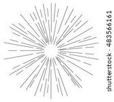 sun rays hand drawn  linear... | Shutterstock .eps vector #483566161