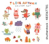 vector autumn set with the cute ... | Shutterstock .eps vector #483567781