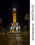 Small photo of IZMIR, TURKEY - August 1, 2015; Izmir Clock Tower at night from Izmir, Turkey