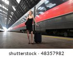 elegant woman with suitcase... | Shutterstock . vector #48357982