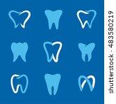 set of dental clinic logo and... | Shutterstock .eps vector #483580219