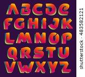 ribbon alphabet colorful... | Shutterstock .eps vector #483582121