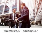 young businessmen with a bike | Shutterstock . vector #483582337
