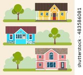 set of detailed colorful houses.... | Shutterstock .eps vector #483586081